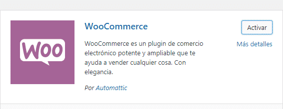 activar plugin woocommerce