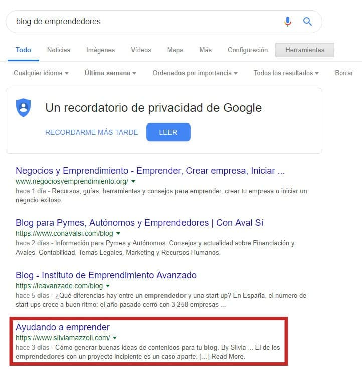 buscando blogs en google