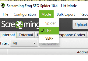 cargar lista screaming frog